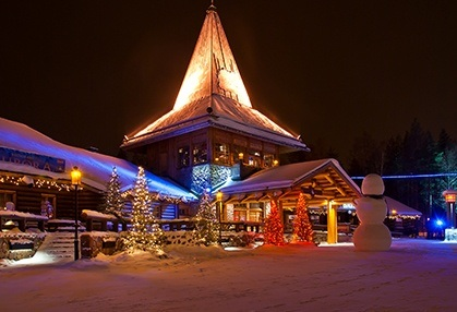 Lighted building in Rovaniemi