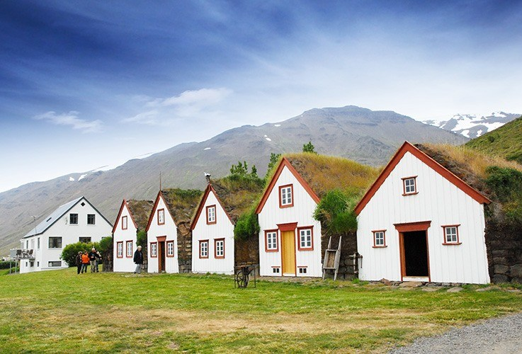 Row of small cottages