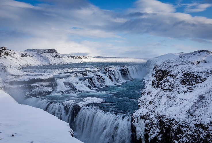 Icy waterfalls and river rapids